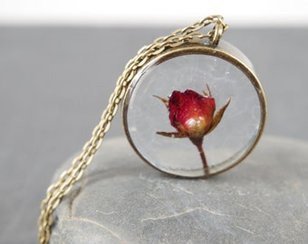 Real rose necklace Real Flower Jewelry Red Rose Pendants Dried flower necklace Botanical necklace Rose jewelry Anniversary Romantic Gift