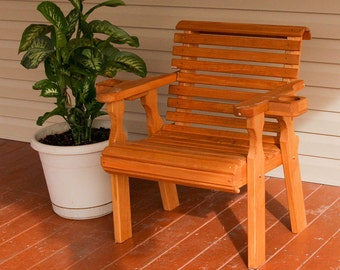 Amish Heavy Duty 600 Lb Roll Back Pressure Treated Patio Chair With Cupholders