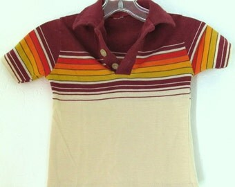 A Boys Vintage 70's,Short Sleeve,Chest STRIPED,HANG 10 Type Polo.S(2T)