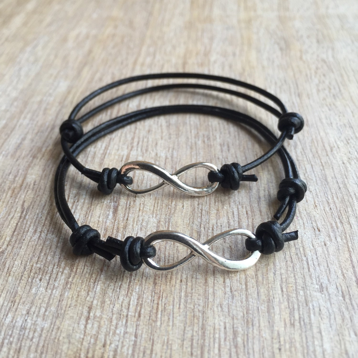 couples leather bracelets his and her bracelet black leather