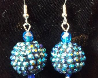 Blue Iridescent Rhinestone Dangle Earrings