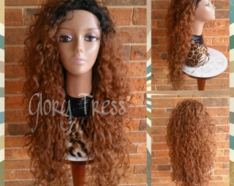 ON SALE // Long Beach Curly Half Wig, Kinky Curly Wig, Long Ombre Auburn Wig // FOREVER