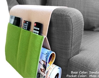 Felt  Sofa Organizer, Pocketed Armrest Organizer, Newspaper Magazine Remote Control Holder in Sandstone / Moss Green Colors