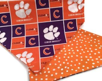 Clemson Tigers Over the Collar Dog Bandana // Clemson University Dog Bandanna // Double Sided Bandana // Reversible Dog Scarf