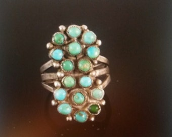 Vintage Native American Zuni Turquoise Sterling ring - 7 1/2