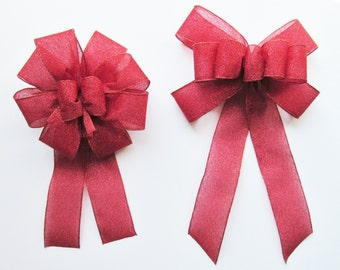 Sparkly Wired Bow - Red - Wired Bow - 9 or 10 Loops