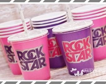 Set of 8 or 10-Rock Star Birthday Party Cups, Lids & Straws, Favor Cups