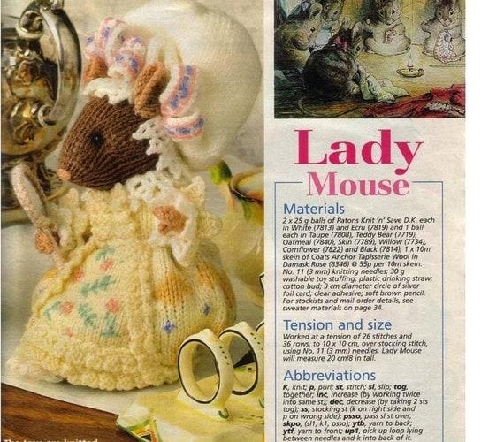 Beatrix Potter Knitting Patterns : vintage knit pattern Beatrix Potter Mouse by VintagePattParadise