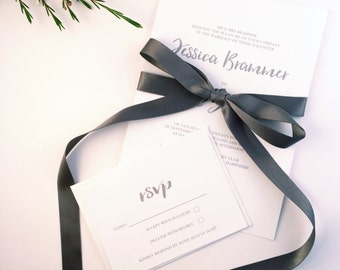 Wedding Invitation & RSVP Set (Sample), 'Eva' Collection, White, Grey, Script, Ribbon, Wedding Invite, Save the date, UK