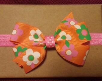 Orange Flower Headband or Clip