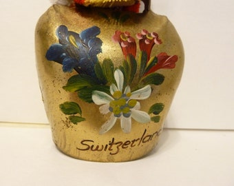 Switzerland, Cow Bell, Solid Brass, Hand Painted