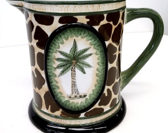 Vintage Ceramic Pitcher Leopard and Palm Tree