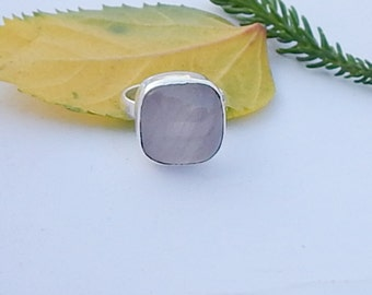 Cushion Shape Pink Chalcedony Gemstone 925 silver Ring Size 7