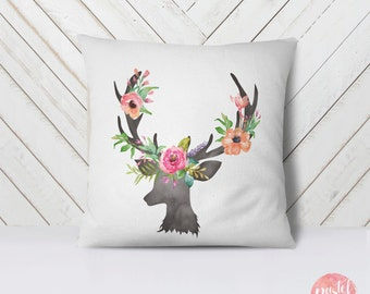 Deer Antlers With Pastel Flowers - Throw Pillow Case, Pillow Cover, Home Decor