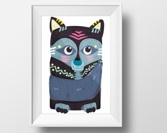 The Wolf Poster - ( Pisces ) illustration, children's room decoration : create your family totem native indian theme