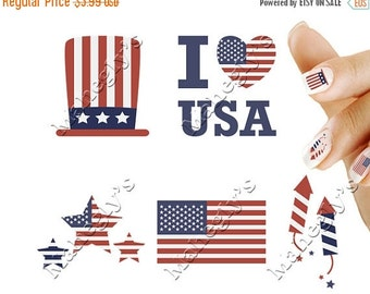 ON SALE 4th of July USA America Patriotic Nail Art Decal Sticker Set 4Th901