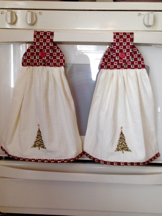Christmas Hanging Kitchen Towels Set Of Two Holiday Kitchen