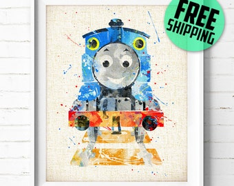 Thomas & Friends, Thomas Train, Poster, Watercolor Painting, Wall Art Print, Home Decor, Kids Wall Decor, Nursery Room, Baby Shower Gift,306