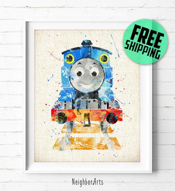 Thomas & Friends Thomas Train Poster Watercolor Painting