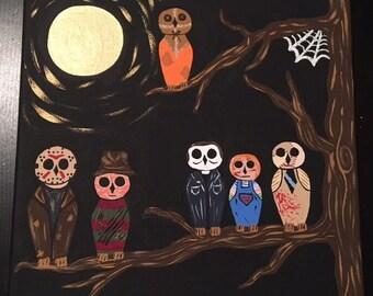 Killer Crafts - Horror Owls - Handpainted Canvas - Horror Fan Art