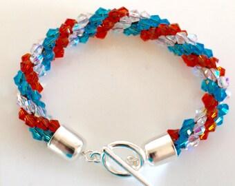 Spiral beaded crochet  bracelet