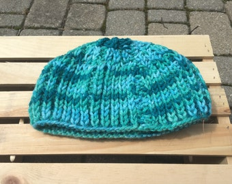 Multicoolored blue beanie