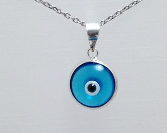 Light Blue Evil Eye Pendant 925 Sterling Silver Rhodium Plated Necklace 10 mm Glass Bead Double Side