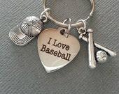 Baseball Keychain / I Love Baseball Keychain / Boyfriend Keychain / Husband keychain / Girlfriend Keychain