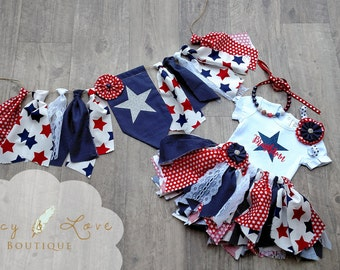 "The ""Uncle Sam"" Fabric Tutu, Birthday Tutu, First Birthday Outfit Girl, Red White and Blue, 4th of July Outfit, banner, patriotic banner"