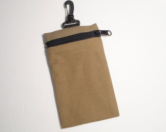 Functional and affordable clip-on cell bag in taupe canvas. Handmade by RiverPurseWorks