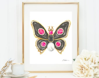 Butterfly Brooch Watercolor Rendering in Yellow Gold with Black Onyx, Pink Spinels, Diamonds, and Pearl printed on Paper