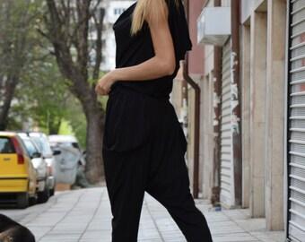 Black Cotton Summer Jumpsuit, Maxi Jumpsuit, Extravagant Drop Crotch Jumpsuit, Plus Size Sexy Jumpsuit by SSDfashion