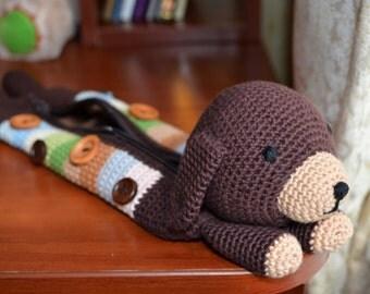 Crocheted pencil case, Dark brown dog pencil case, Crochet striped dog. School supply, Girls accessories, For her