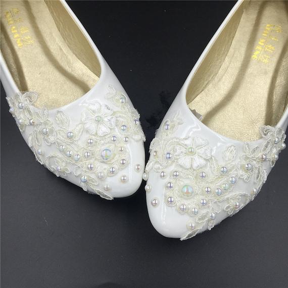 Flat Wedding ShoesLace Bridal Flat ShoesIvory Bridal By Jincaishop