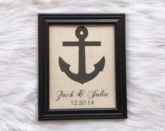 Anchor, Cotton Anniversary Present, Wedding Gift, Burlap Fabric Print, Linen, Engagement, Bridal, Country Home Decor, Personalized Nam