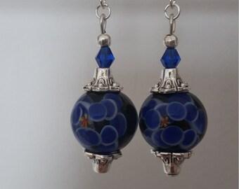Blue flower Lampwork glass bead dangle