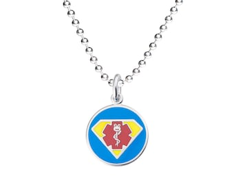 "Dr. Super Jr. 316L 1"" Medical Alert ID Pendant Necklace w/ Ball Chain-Free Custom Engraving,  Wallet Card, Apps-5785"