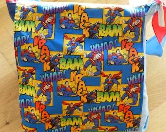Child's messenger bag featuring Superhero fabric