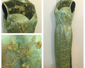 Vintage/ Vintage Style Chines Dress, Cheongsam Mandarin Collar Light Green Dress with Gold Embroidered Tulle, Wiggle Dress, Size: