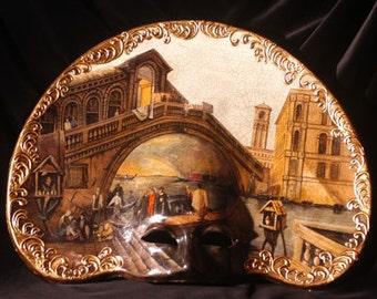 Masquerade Mask Hand Painted - Interior Design Venetian Mask  - Mask with Ralto Bridge painting - M02