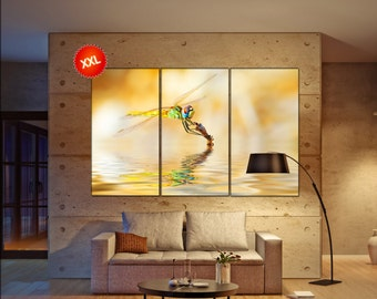 dragonfly wall art print prints on canvas Closeup portrait of a beautiful colorful dragonfly photo art work framed art artwork
