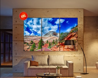 Zion Canyon National Park Utah canvas art prints large wall art canvas print Zion national park Wall Home office decor interior Office Decor