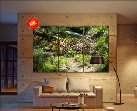 Leopards canvas wall art art  large  canvas wall art print Leopards Wall Home office decor interior Office Decor