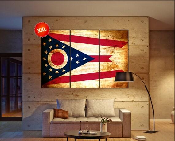 ohio state flag  canvas ohio state flag  wall decoration ohio state flag  canvas art ohio state flag  large canvas
