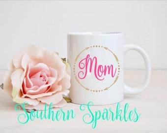 Personalized Mom Coffee Mug ~ Glass Coffee Mug ~ Mother's day gift ~ Mom ~ Mommy ~ Mama ~ Monogrammed Mug ~ Custom Mug