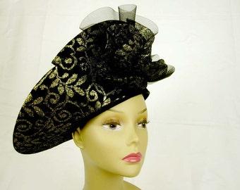 Mr Hi's Black Hat, Wool Wide Brim with Gold Trim 1940s