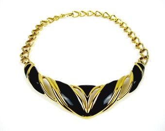 Monet Bib Necklace, Gold Tone Choker, Black Enamel Bib Necklace, 1980s