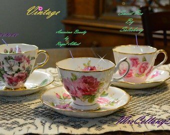 Vintage Pink Tea Cup and Saucer Collection