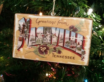 Original Vintage Nashville Christmas Tree Ornament - Vintage Postcard Wood Transfer