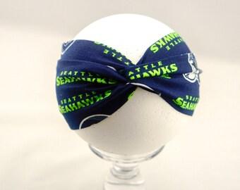 Seahawks Head Wrap - Fabric Head Wrap - Newborn Head Wrap - Baby Head Wrap - Toddler Head Wrap - Adult Head Wrap - Handmade - Hand Sewn